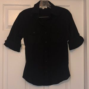 Small black button down with stretchy sides